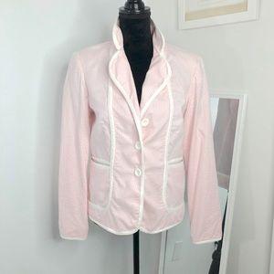Pink & White Seersucker Blazer M Katherine NY